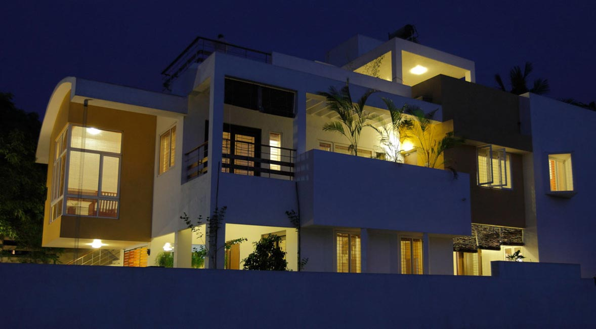 Achuthan residence, night view